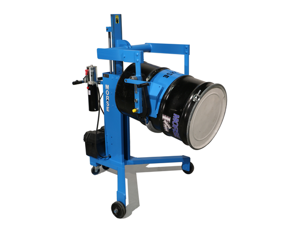 A blue Drum Palletizer with Geared Tilt to control drum pouring, tilting a barrel on its side