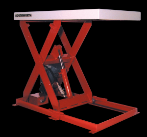 A red Backsaver Lite Lift Table from Stewart Handling