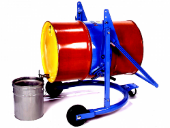 a blue mobile drum carrier holding a large red barrel drum