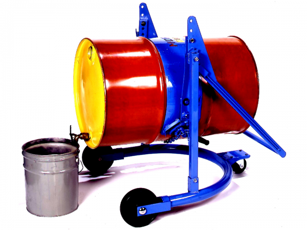 Blue 55-gallon mobile drum carrier from Stewart Handling holding a red drum with a yellow lid.