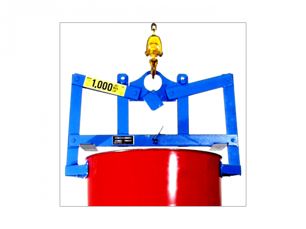 Detail of a below hoist/hook drum handling system, gripping the top of a red drum.