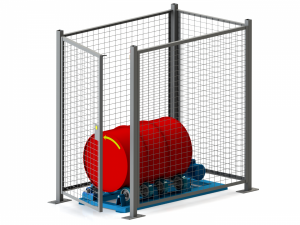 Enclosure W/ Safety Interlock for Single Stationary Drum Roller