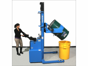 Woman operating a blue power-propelled drum handling machine.