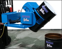 An automated fork mount drum handler lifts a large drum off of the ground.