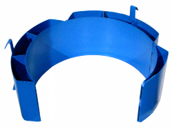 Blue diameter adapter makes it easier for personnel to handle smaller drums.