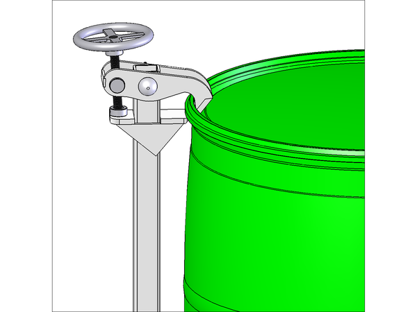 Top Rim Clamp to Handle Rimmed 55 gal. Plastic Drum. Stainless Steel