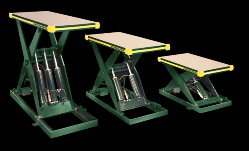 Three different sized backsaver lift tables lined up next to each other