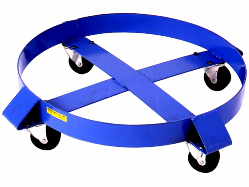 Compact round drum dolly that fits the bottom of drums, allowing operators to manually push the drum around.