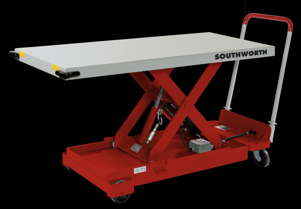 A red Backsaver LitePortable Southworth Lift Table from Stewart Handling